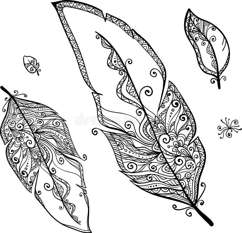 Plumes d'ethno de griffonnage de vecteur réglées illustration de vecteur