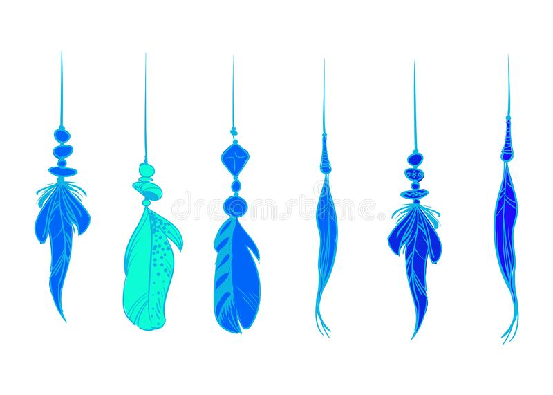 Plumes d'oiseau tirées par la main bleues, d'isolement sur le fond blanc Un ensemble de beau plumage d'oiseau Illustration de vec illustration de vecteur