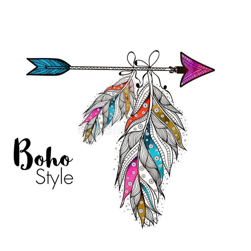 Plumes de style de Boho avec la flèche illustration de vecteur