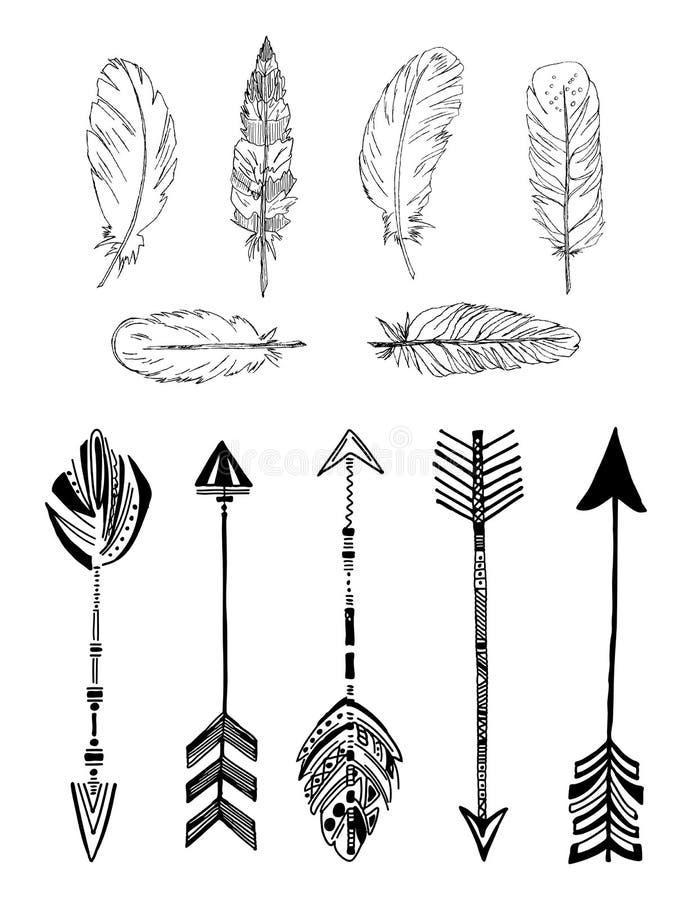 Plumes et flèches ethniques rustiques de style de boho Ensemble de vecteur de vintage illustration stock