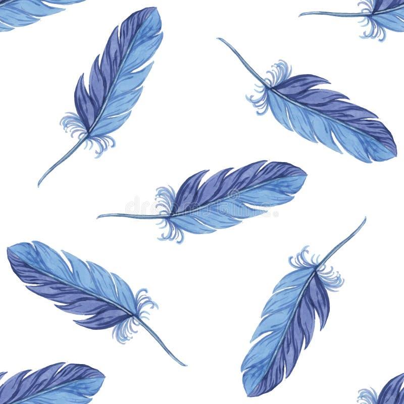 Plumes sans couture de modèle d'aquarelle Vecteur illustration stock