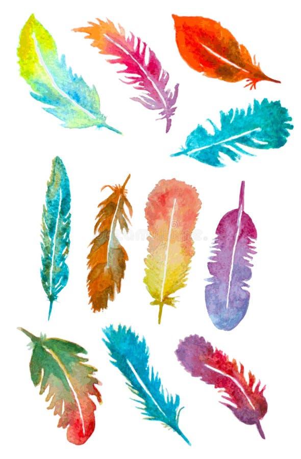 Plumes tirées par la main d'aquarelle réglées illustration libre de droits