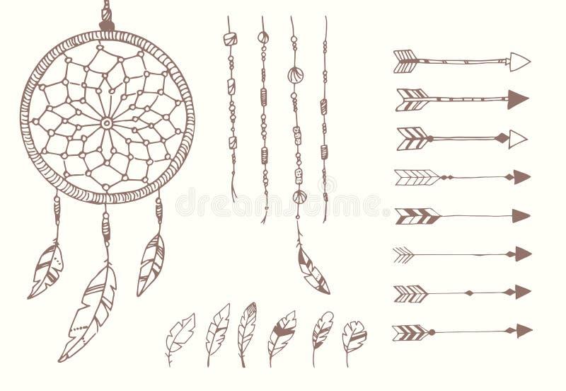 Plumes tirées par la main de natif américain, receveur rêveur, perles et flèches illustration libre de droits