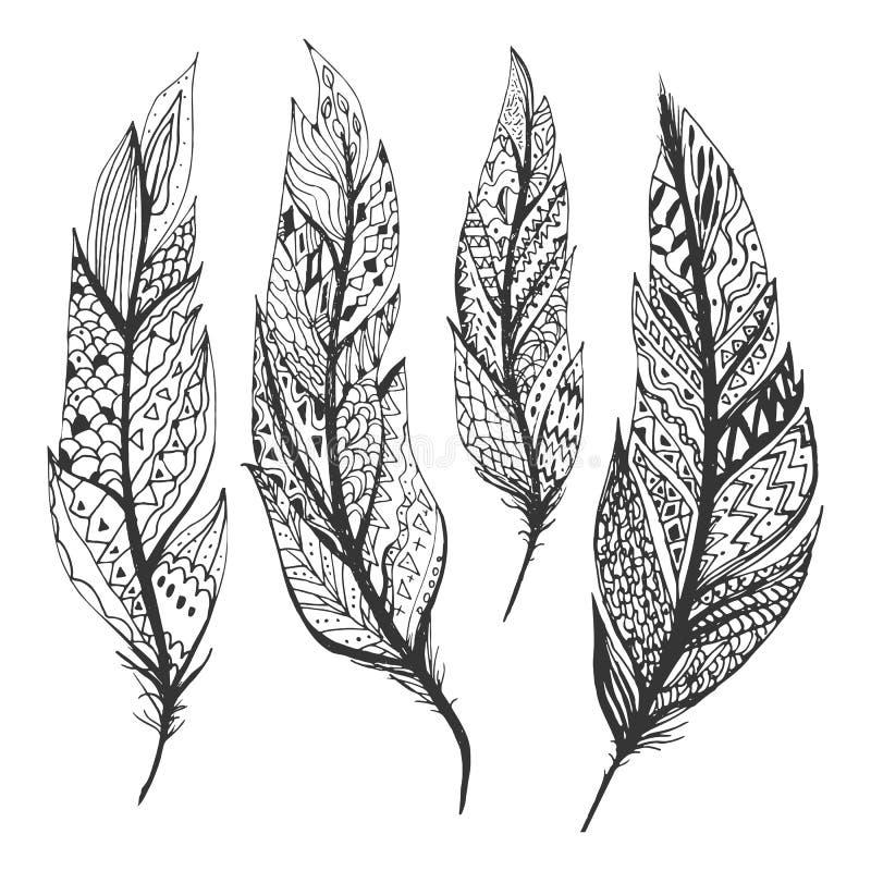Plumes tirées par la main réglées sur le fond blanc Illustration de vecteur images stock
