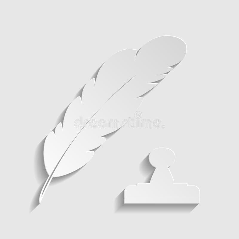 Plumma eller fjäder och stämpelmärke Ikon för pappersformat illustration vektor illustrationer