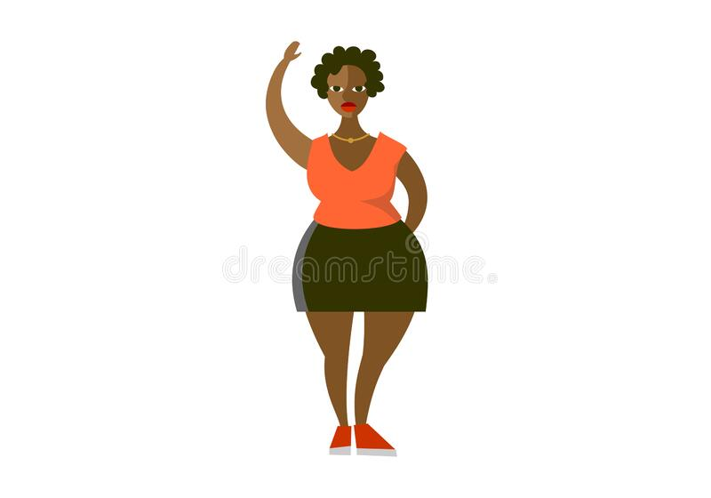 Plump curvy african american woman flat vector illustration. Plus size cartoon character wearing blouse and skirt stock illustration