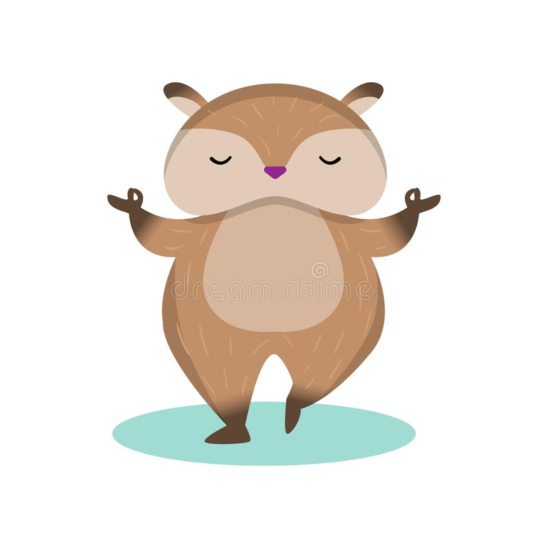 Little cute hamster standing on one leg and meditating isolated on white background. Plump fluffy hamster standing on one leg and meditating. Brown rodent doing stock illustration