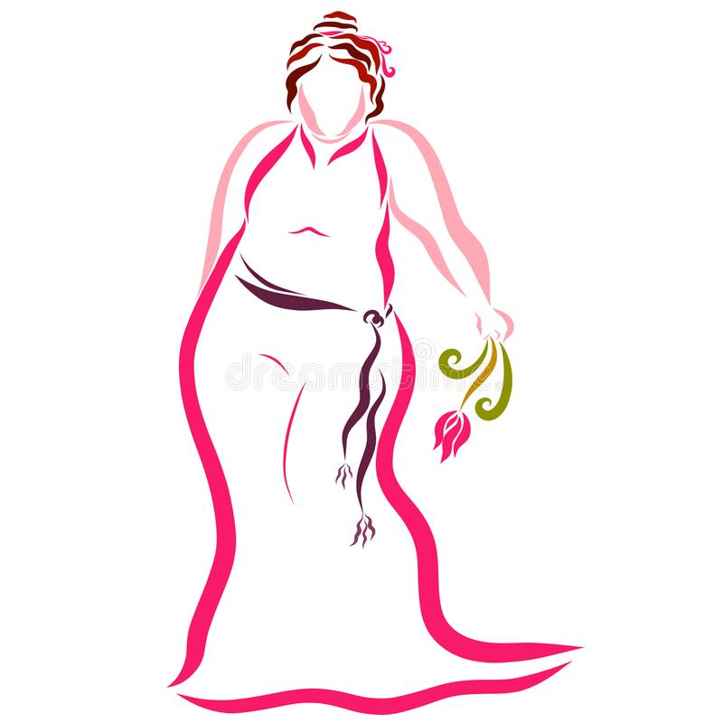A plump lady in a beautiful pink dress, romance.  stock illustration
