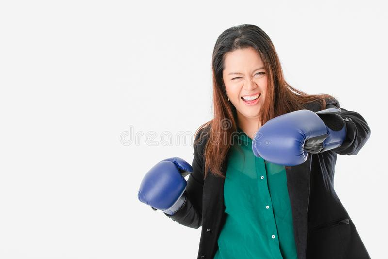 Plump lady in smart casual stock photography