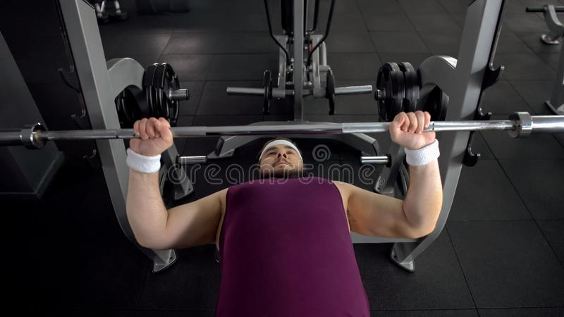 Plump male lifting up barbell, personal gym workout plan, desire to be strong royalty free stock photos
