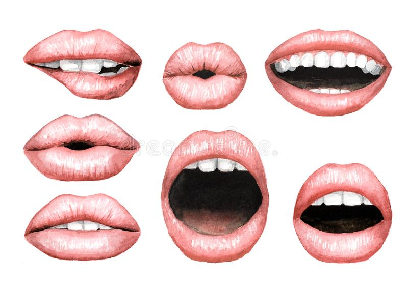 Plump puffy pink lips with Nude lipstick set. Watercolor hand drawn illustration, isolated on white background royalty free illustration