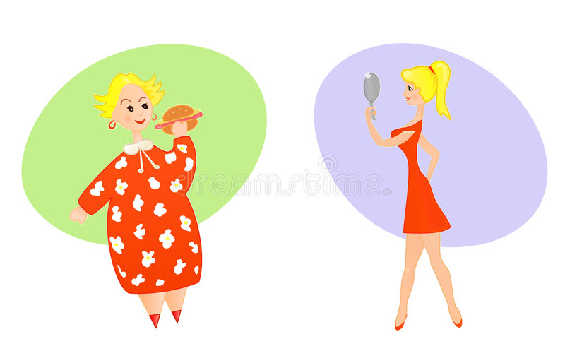 Download Plump and slim stock vector. Illustration of dietary, isolated - 6353130