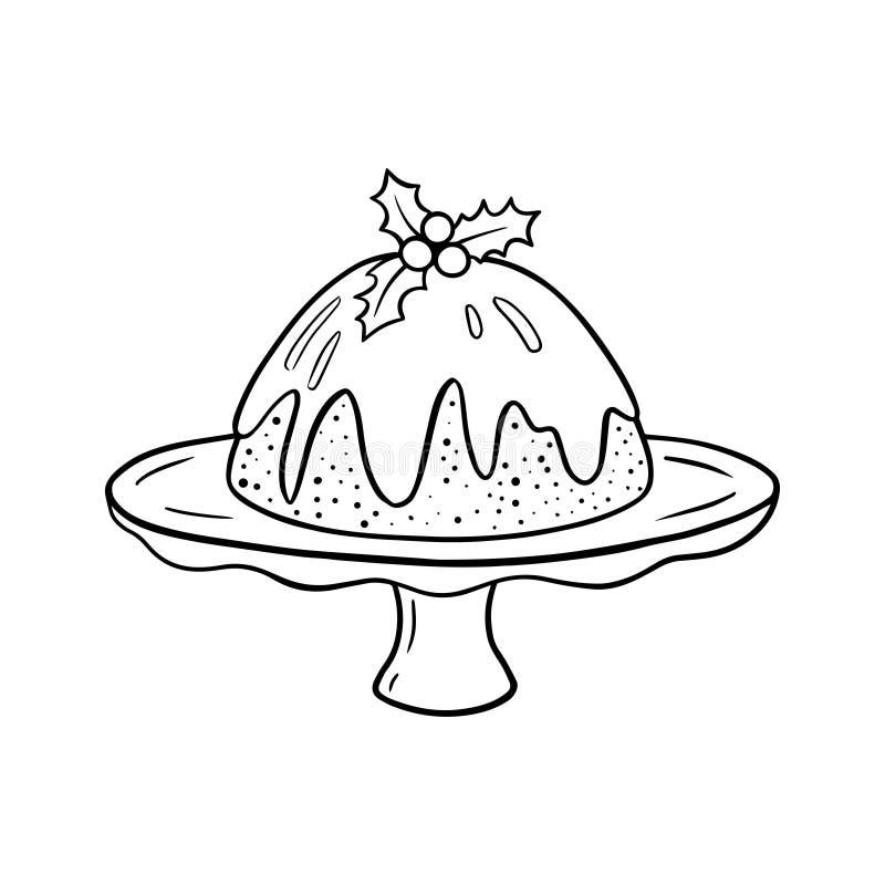 Plumpudding med järnekbär och sidor, linje konstteckning stock illustrationer