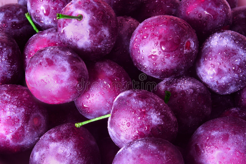 Plums. Close-up of juicy plums, violet background