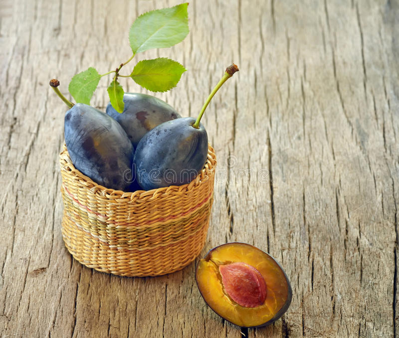 Download Plums in the basket stock image. Image of diet, fruit - 27143687