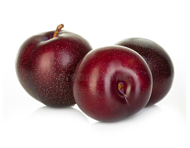 plums isolated on a white stock photos