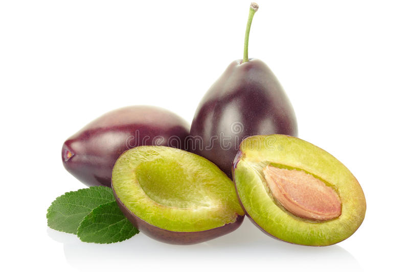 Download Plums with leaves stock photo. Image of color, group - 21689818