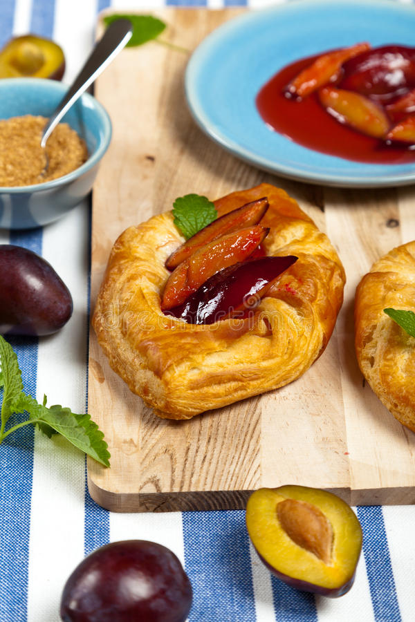 Plums pastries. Delicious Homemade dessert. Plums pastries. Selective focus royalty free stock photos