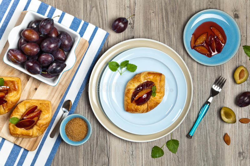 Plums pastries. Delicious Homemade dessert. Plums pastries. Selective focus royalty free stock image