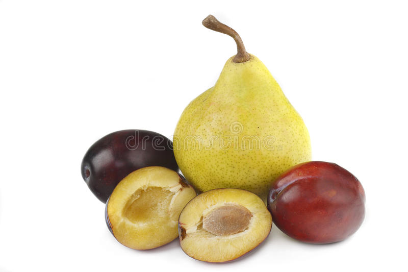 Plums And Pear Stock Photo