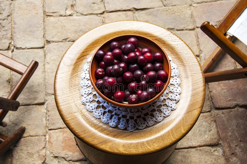 Plums at table stock photos