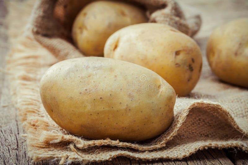 Plundrar nya organiska potatisar för Closeup på hampa bakgrund Radorga royaltyfri fotografi