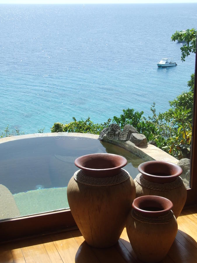 Plunge Pool with Ocean Beyond stock photos