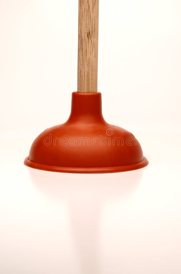 Plunger. Close-up of rubber and wooden plunger royalty free stock photos