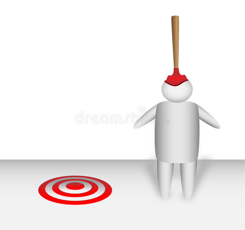 Plunger missing the target and landing on a mans head stock photos