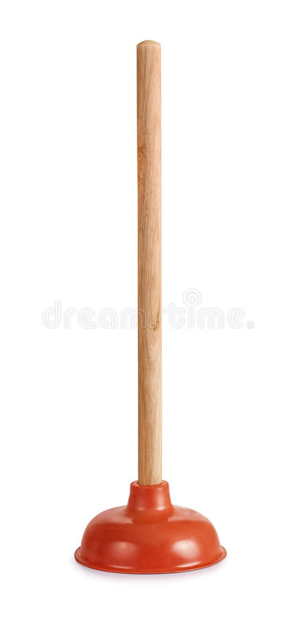 Plunger. Rubber cup plunger isolated on white royalty free stock photos