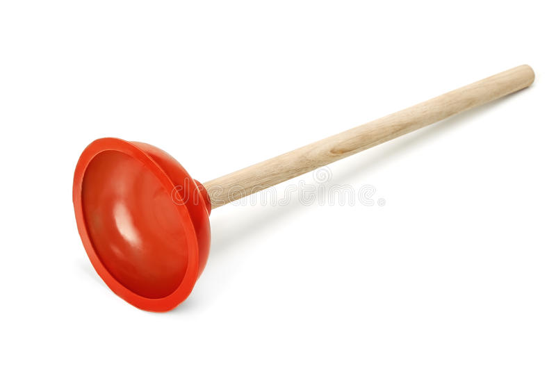 Plunger. Rubber plunger isolated on white stock photography