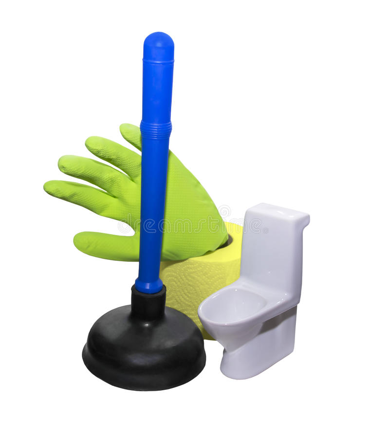 The plunger for the toilet. Plunger for clean the toilet royalty free stock images