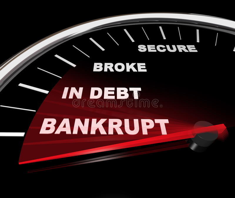 Plunging into Bankruptcy - Financial Speedometer. A speedometer with needle plunging down past word Bankrupt