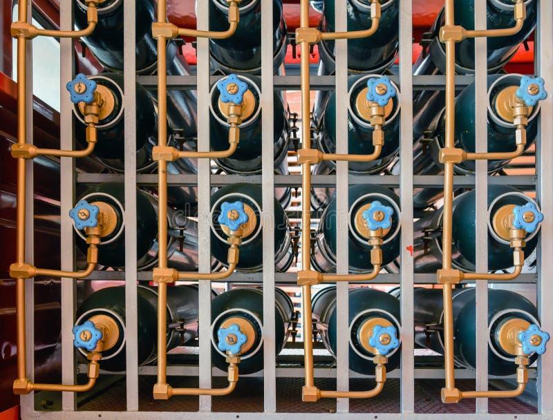 Pluralidade de dióxido de carbono dos cilindros para extinguir o fogo foto de stock royalty free