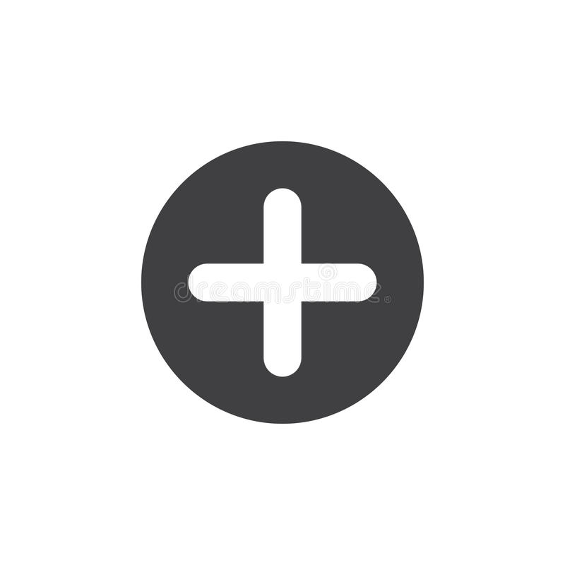 Plus, add flat icon. Cross round simple button, circular vector sign. stock illustration