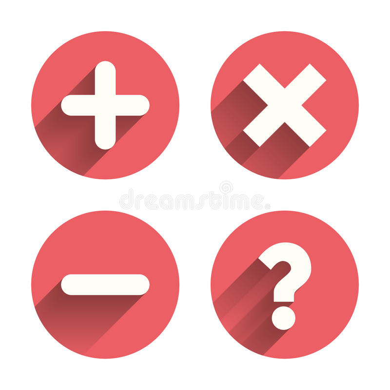 Free Plus And Minus Icons. Question FAQ Symbol Stock Image - 59427231