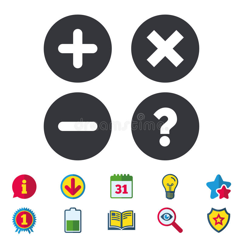 Free Plus And Minus Icons. Question FAQ Symbol. Royalty Free Stock Images - 98077679