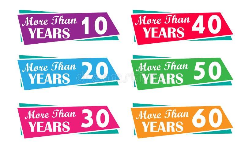Plus de 10, 20, 30, 40, 50, 60, années étiquette pour la société, affaires des expériences illustration de vecteur