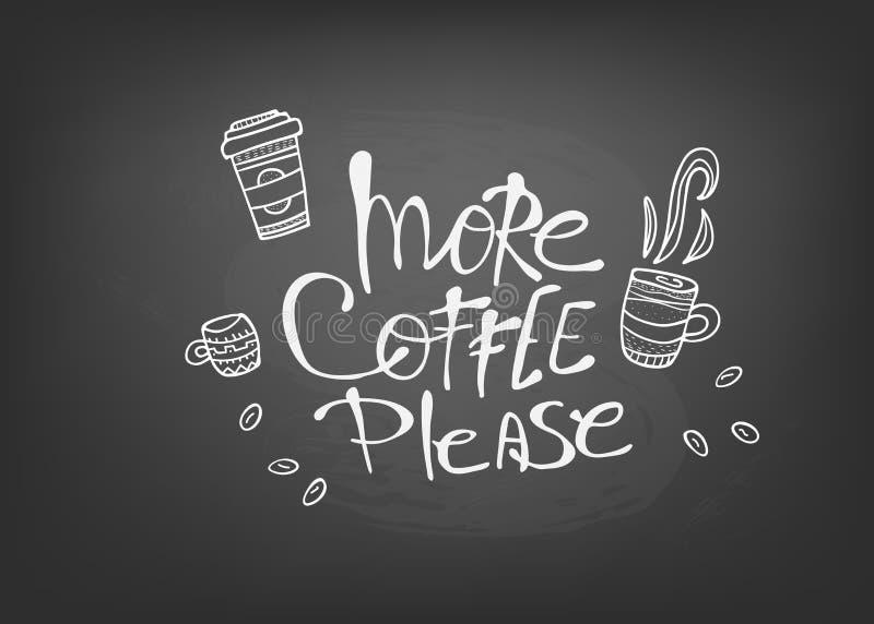 Plus de coffe satisfont l'inscription Illustration de vecteur illustration libre de droits