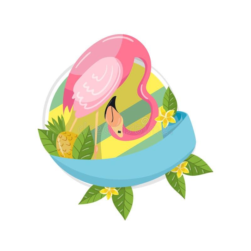 Plus de label tropical d'été d'amusement, élément de conception avec des palmettes, fleurs exotiques, ananas et vecteur de flaman illustration stock