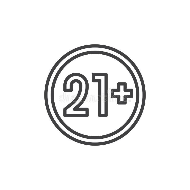 21 plus de lijnpictogram van het jaren oud teken royalty-vrije illustratie