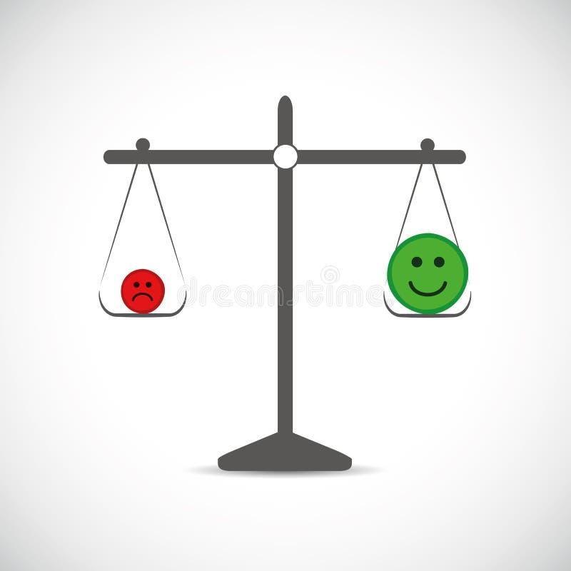 Plus de positif pensant dans une Balance illustration de vecteur