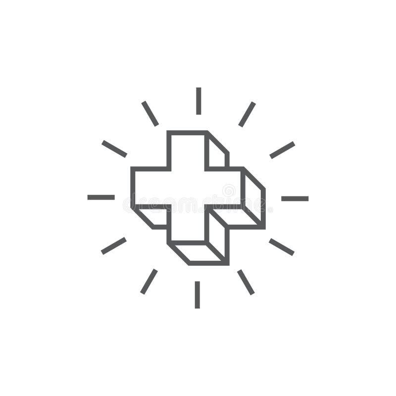 Plus den medicinska 3d geometriska linjen logovektor vektor illustrationer
