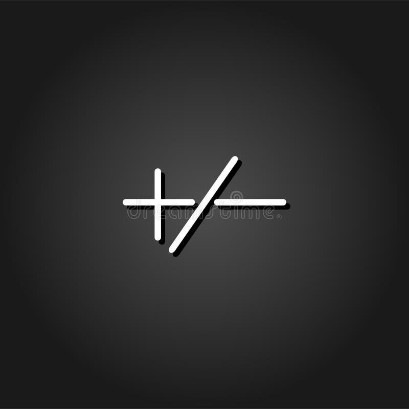 Plus eller negativ symbolslägenhet royaltyfri illustrationer