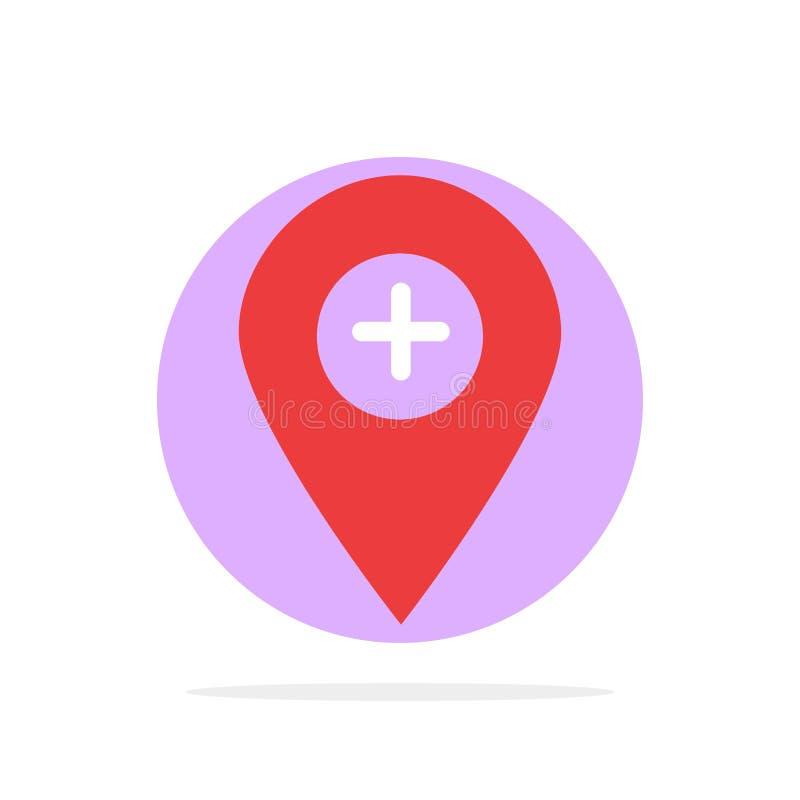 Plus, emplacement, carte, marqueur, icône de couleur de Pin Abstract Circle Background Flat illustration libre de droits