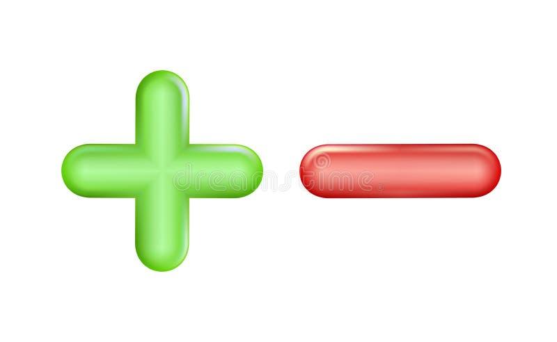 Plus en minus pictogram groen, rood symbool Ui, advertentie Ontwerp realistisch plastic stuk speelgoed Saldoconcept pluses of min vector illustratie