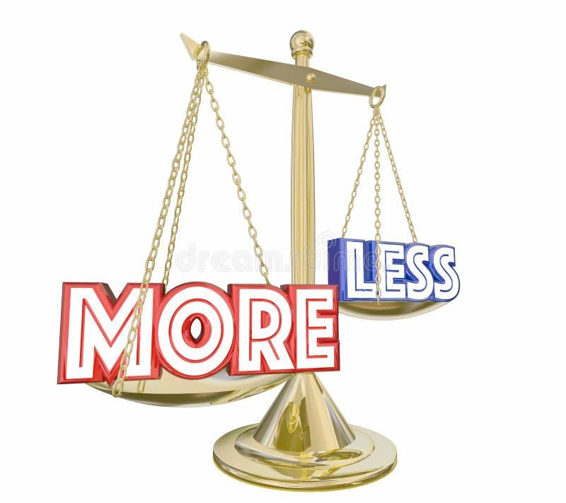 Plus est une meilleure affaire que moins de mots équilibrent l'échelle 3d Illustratio illustration de vecteur