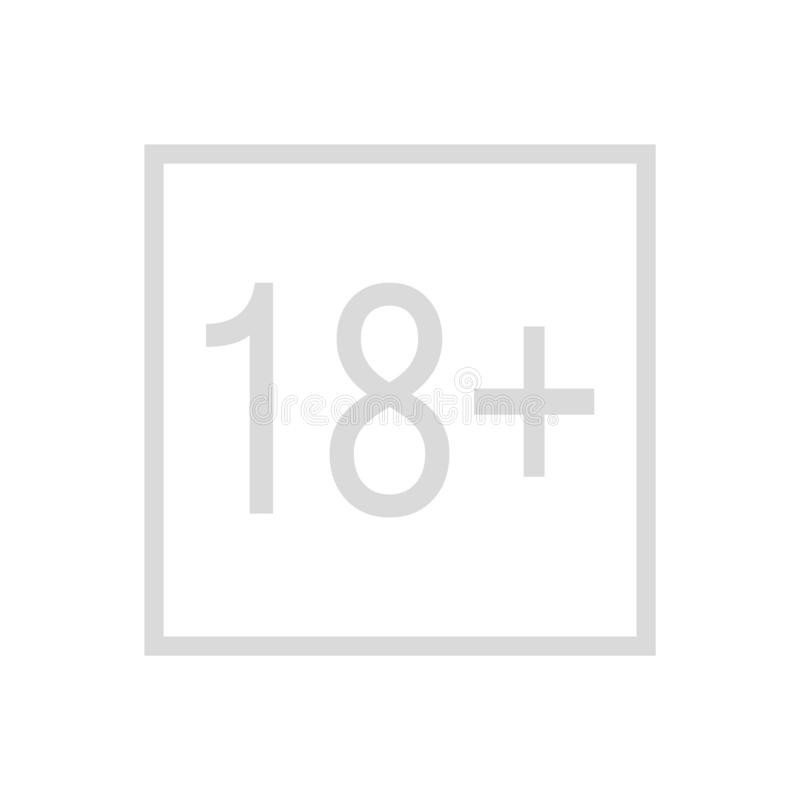 18 plus gammalt tecken f?r ?r Vuxna m?nniskor tillfredsst?ller symbolen 18 plus symbol för vektor för ålderbegränsningstecken ?ld vektor illustrationer