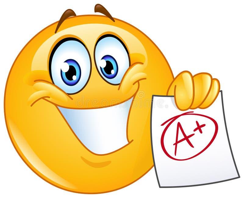 A plus grade emoticon. Happy emoticon showing a paper with perfect grade a plus stock illustration