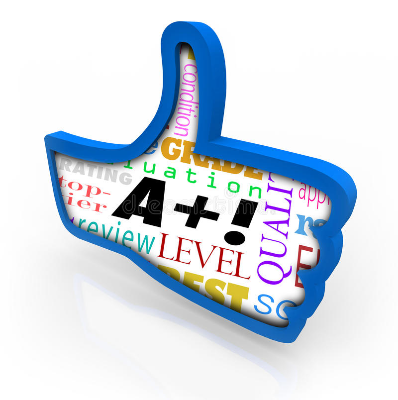 A Plus Grade Score Blue Thumb Up Symbol Review. A Plus words as perfect score or grade on a blue thumbs up sign or symbol vector illustration